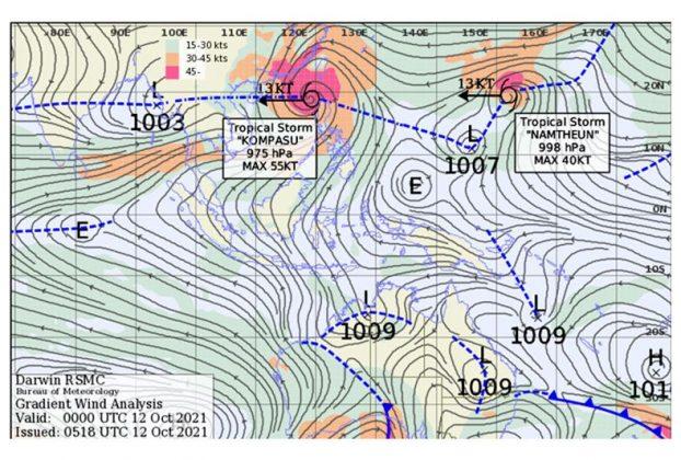 Posisi siklon tropis Kompasu dan Namtheun serta dua sistem tekanan rendah yang berdampak terhadap kondisi cuaca di belahan bumi selatan termasuk Jawa Tengah bagian selatan.